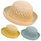 Ladies Packable Summer Straw Sun Hat with Turn Up Brim