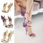 Women Colorful Butterfly Wings Stilettos High Heel Ankle Strap Sandals Shoes