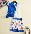 K2017 occident fresh fashion blue+white shirt+printing skirt leisure suits S M L