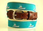 Mens Embroidered Leather Canvas Nautical Sports Fisherman Powerboat Yatch