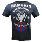 Mens Ramones Vintage Look England 1976 Tour Tribute Band T Shirt, Charcoal Gray image