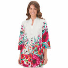 Womens Floral Print V-neck Tunic Top, Plus Size, by Collections Etc