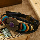 New Women Flower Leather Bracelet Charm Vintage Bangle Fashion Jewelry 6 Colors