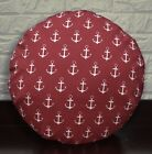 AL264n Red On White Anchor Cotton Canvas Round Cushion Cover Custom Size