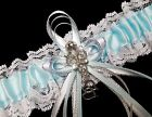 Light Blue Satin and White Lace Wedding Prom Bridal Garter Belt with Rhinestones