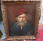 FINE ANTIQUE PORTRAIT PAINTING OF BEARDED MAN,CARVED FRAME INDISTINCTLY SIGNED