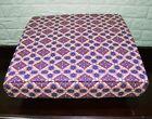 AL263t Royal Purple Coral Orange Beige Cotton Canvas 3D Box Seat Cushion Cover