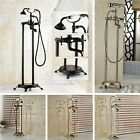 Floor Mount Bathtub Faucet Filler Mixer Tap Shower Tub Mixer W/ Hand Shower