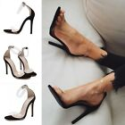 Women Transparent Open Toe Clear Strap Classics Stiletto Pump High Heel Sandal