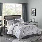 12pc Silver Grey Jacquard Woven Comforter Set AND Sheet Set - ALL SIZES