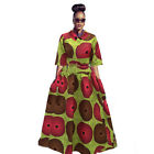 2Pcs African Printed Tops +Large Swing Dress Big Skirt Loose Suit Party M-2XL