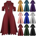 Womens Ladies Zip Up Choker Neck Cold Cut Shoulder Short Sleeve Midi Swing Dress