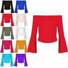 Womens Ladies Plain Off The Shoulder Peplum Bell Sleeve Casual Bardot Crop Top