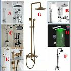 Wall Mount Bath Shower Faucet Set Rain Shower Head + Hand Shower Spray Tap Mixer