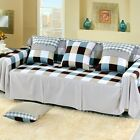 Check Cotton Blend Slipcover Sofa Cover oAUl Protector for 1 2 3 4 seater nkqy