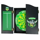 49660 CANBERRA RAIDERS NRL BRISTLE DARTBOARD WOODEN CABINET + 2 SETS OF 3 DARTS