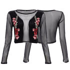 Women's Sexy Round Neck Long Sleeve See Through Embroidery Crop Tops Blouses Tee