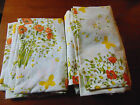 ~2~Twin Size Sheets FITTED & FLAT YELLOW & ORANGE FLORAL GARDEN Morgan Jones VGC