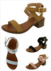 New Women's Ankle Wrap Adjustable Buckle Stacked Chunky Med Heel Sandal Pumps