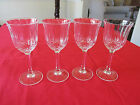 (4) VTG OPTIC PANEL VERTICAL & DIAMOND CUT CRYSTAL WINE GLASSES W HEXAGONAL STEM