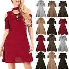 Womens Ladies Cold Cut Shoulder Choker Neck Lace Up Knitted Swing Skater Dress