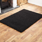 Small Large 5cm Thick Black Soft Modern Quality Shaggy Rugs / Round / Runners