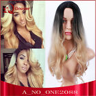 Fashion long body wavy omber two tone 3color hair sexy women's party full wigs