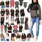 Womens Ladies Mesh FishNet Oversized Baggy Leggings Hoody Cropped Long Dress Top