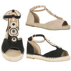 Womens Ladies Pearl and Diamond Front Sandal Shoes Buckle Ankle Strap Shoes Size
