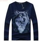 Fashion Men's 3D Wolf Head Print Cotton T-shirts Casual Spring Plus Size Tops
