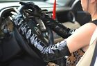 """60cm(23.6"""") long real patent leather shiny opera evening  gloves in black"""