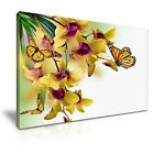 Yellow Butterfly Flower Canvas Wall Art Picture Print Decoration 5 Sizes Choose