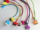 """ROUND BRAIDED 8"""" (20cm) fabric charge cable cord FOR iphone 4 4s ipod data sync"""