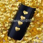 500PCS gold frosted heart metal 3d nail art decorations studs nails accessoires