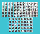2 Inch Consecutive Number Decals / Stickers 1-100