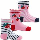 Baby girls socks triple pack with a strawberry design size 0/0 - 0/2.5 - 3/5.5