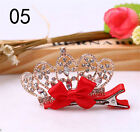 Shiny Crown Rhinestone Princess Hairpins Baby Girls Bow Crystal Hair Clip  0S