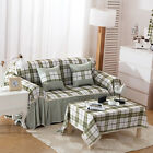 Green Plaid Cotton Blend Lace L-Shaped Sofa Cover OAUL Protector seater SlipCove
