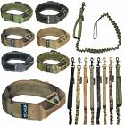 SET Dog Tactical COLLAR + LEASH K9 Molle Handle Training HOOK & LOOP Large M-XXL