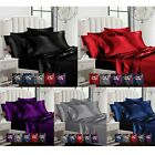 Sexy Satin 6 Pcs Queen / King Bed Duvet Cover Pillow Cover Fitted Sheet Set image