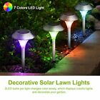 Outdoor Solar Light LED Lawn Garden Pathway Stainless Steel Lamp Color Changing