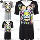 Womens Plunging Lion Graphic Print Cut Out Choker Neckline Lace Up T-Shirt Dress