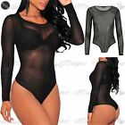 Women Ladies Round Neck All Over Mesh See Through Sheer Leotard Bodysuit Tee Top