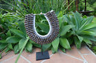 Tribal round spiral shell necklace silver or chocolate with or without stand