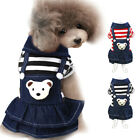 Soft Cotton Jean Dog Dress Fashion Dog Shirt Jeans Clothes Dog Cat Puppy XS-XL