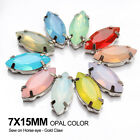 Horse eye Mixcolor Opal Resin Stones 7X15mm Sew on Rhinestones K Silver Claw