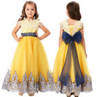 Flower Bow Girls Princess Pageant Wedding Party Formal Birthday Dress Ball Gown*