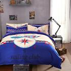 Compass Ship FitCA Single Queen Kin Size Bed Set Pillowcase Quilt Duvet Cover