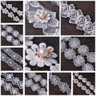DIY 1yd Pearl Lace Embroidered Edge Trim Ribbon Applique Sewing Craft 12 Styles