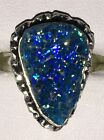 Authentic Handmade Natural Blue Druzy Quartz Silver Overlay Ring, Size M 1/2